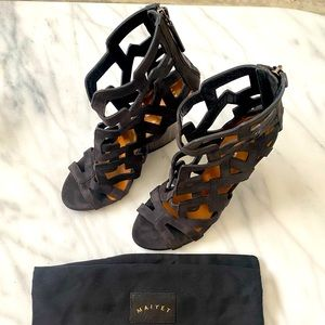 🔥Gorgeous Maiyet Laser-Cut Suede Wedge Sandals🔥